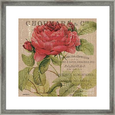 French Burlap Floral 1 Framed Print by Debbie DeWitt