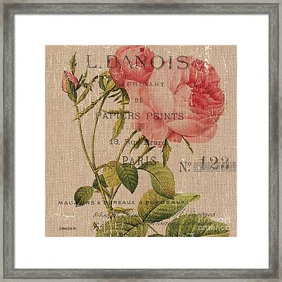 French Burlap Floral 2 Framed Print by Debbie DeWitt