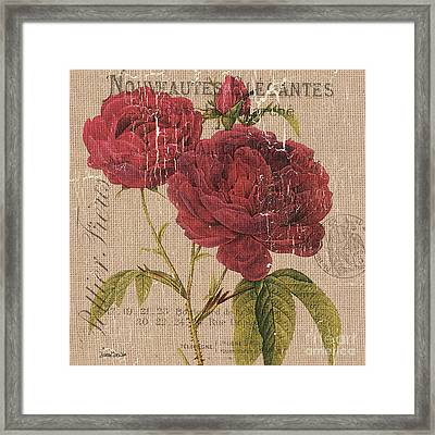 French Burlap Floral 3 Framed Print by Debbie DeWitt