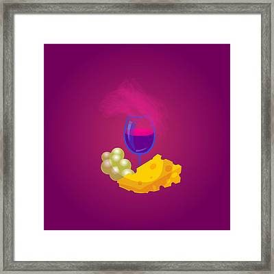 French Cheese And Glass Of Wine Framed Print by Dragana  Gajic