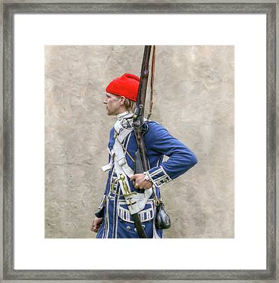 French Colonial Soldier French And Indian War  Framed Print by Randy Steele