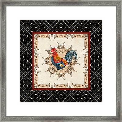 French Country Roosters Quartet Black 2 Framed Print by Audrey Jeanne Roberts