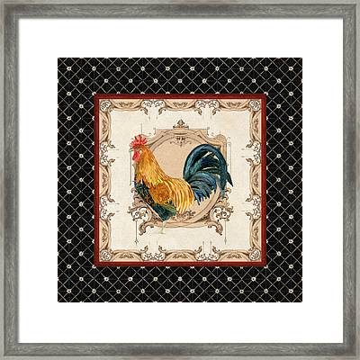 French Country Roosters Quartet 4 Framed Print by Audrey Jeanne Roberts