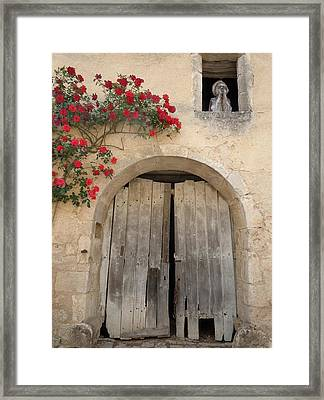 French Doors And Ghost In The Window Framed Print by Marilyn Dunlap