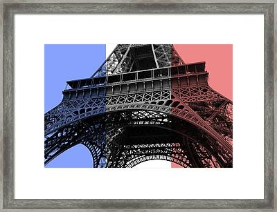 French Flag Motif Eiffel Tower Base And First Floor Perspective Framed Print by Shawn O'Brien
