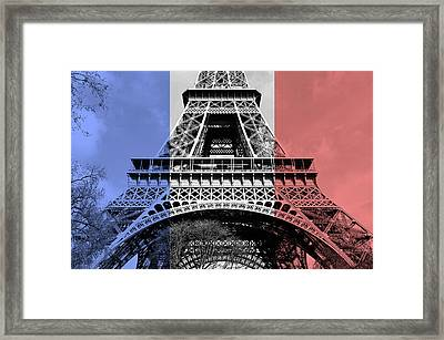 French Flag Motif Eiffel Tower First And Second Floors Paris France Digital Art Framed Print
