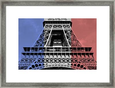 French Flag Motif Eiffel Tower First And Second Levels Paris France Framed Print