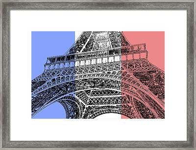 French Flag Theme Eiffel Tower Base And First Floor Paris France Stamp Digital Art Framed Print