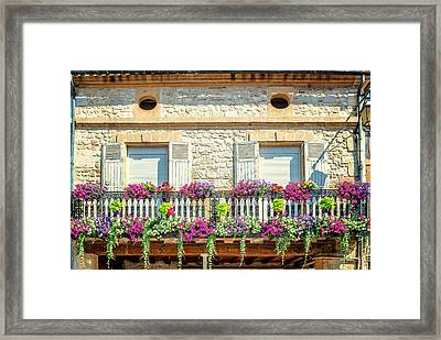 French Flowers On A Balcony Framed Print by Georgia Fowler
