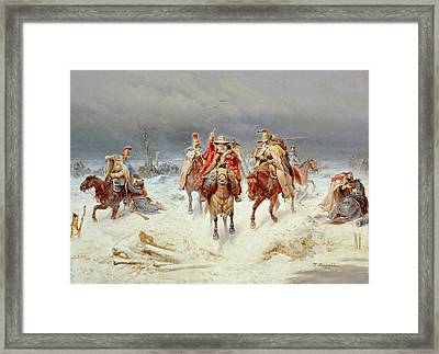 French Forces Crossing The River Berezina In November 1812 Framed Print by Bogdan Willewalde