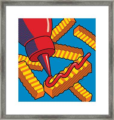 French Fries On Blue Framed Print by Ron Magnes