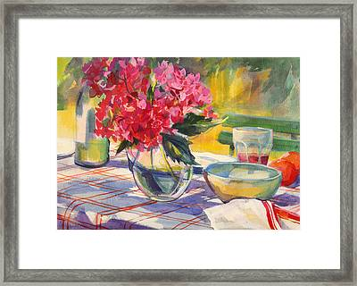 French Garden Table Framed Print by Sue Wales