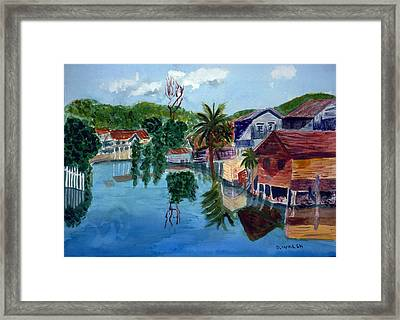 French Harbor Isla De Roatan Framed Print