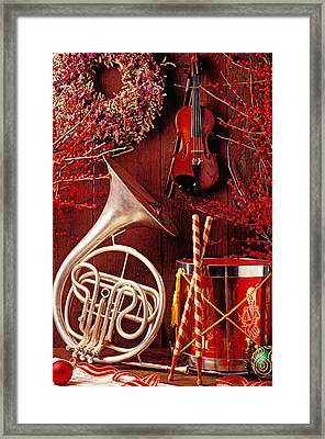 French Horn Christmas Still Life Framed Print
