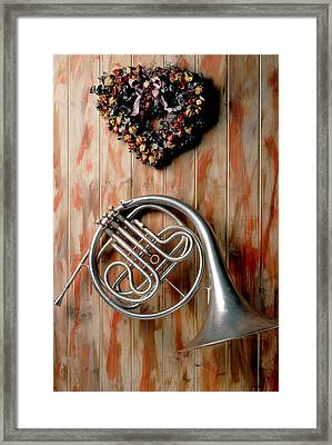 French Horn Hanging On Wall Framed Print by Garry Gay