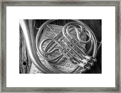 French Horn In Black And White Framed Print