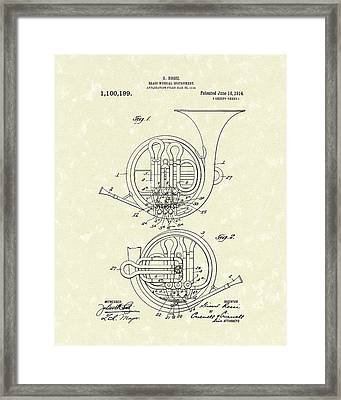 French Horn Musical Instrument 1914 Patent Framed Print