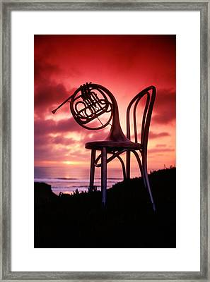 French Horn On Chair Framed Print