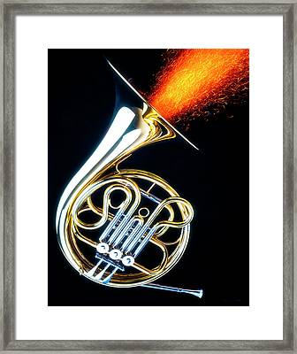 French Horn Shooting Sparks Framed Print