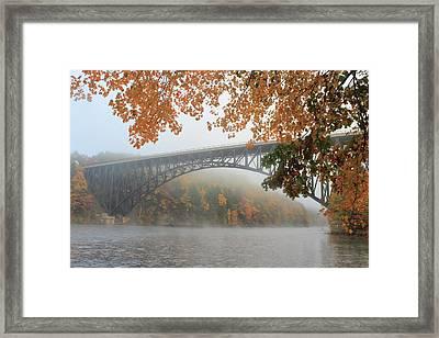 French King Bridge Autumn Fog Framed Print by John Burk