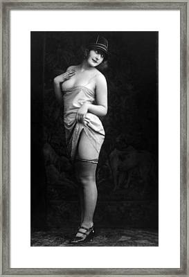 French Lingerie Model, Circa 1920 Framed Print by Everett