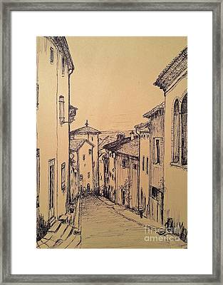 French Little Town Drawing Framed Print