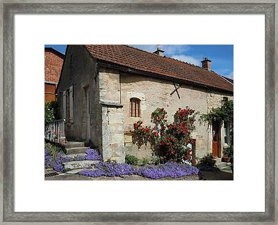 French Medieval House With Flowers Framed Print