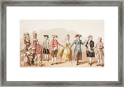French Men S Fashions During The Reign Framed Print by Vintage Design Pics