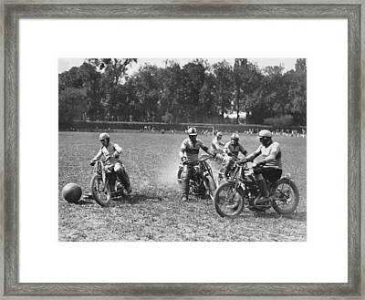 French Motorcycle Polo Framed Print by Underwood Archives