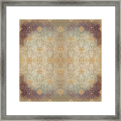 French Parisian Damask Swirl Vintage Style Wallpaper Framed Print