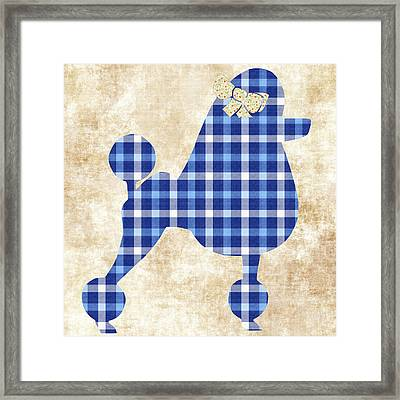 French Poodle Plaid Framed Print