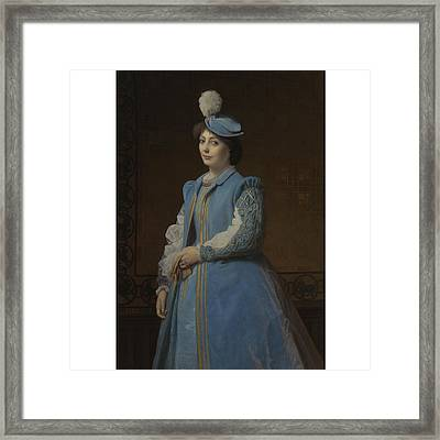 French Portrait Of A Lady In Blue Framed Print by Charles Francois
