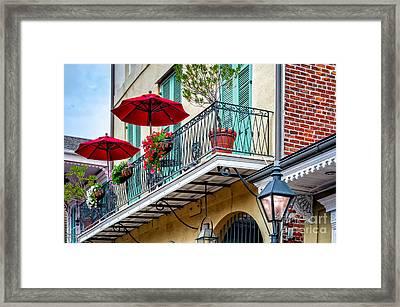 French Quarter Balcony And Umbrellas - Nola Framed Print by Kathleen K Parker