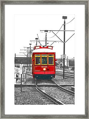 French Quarter French Market Cable Car New Orleans Color Splash Black And White With Film Grain Framed Print by Shawn O'Brien