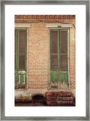 French Quarter Green Door Framed Print