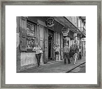 French Quarter - People Watching Bw Framed Print