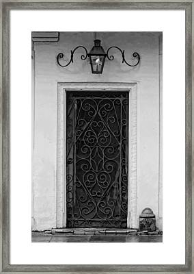 French Quarter Rainy Day Doorway Black And White Painted Framed Print by Kathleen K Parker