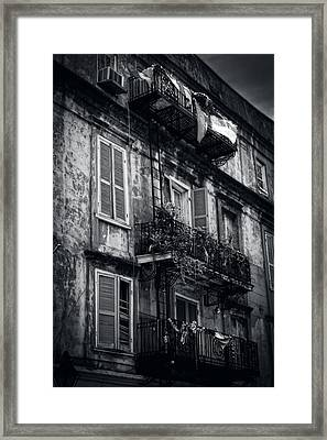 French Quarter Shutters And Balconies In Black And White Framed Print by Chrystal Mimbs