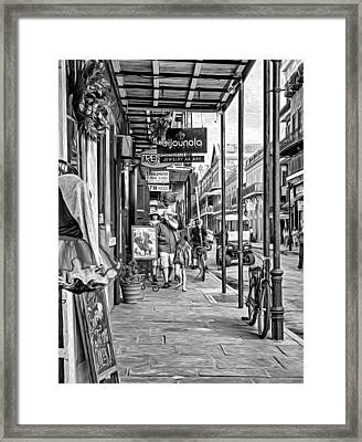 French Quarter Sidewalk Bw Framed Print