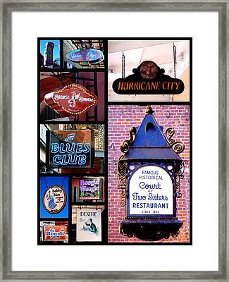 French Quarter Sign Collage Framed Print