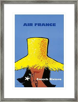 French Riviera South Of France Vintage Airline Travel Poster Framed Print by Retro Graphics