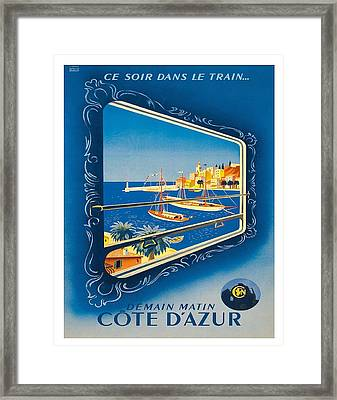 French Riviera Vintage Railroad Travel Poster By Roland Hugen Framed Print by Retro Graphics