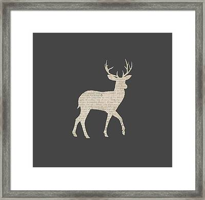 French Script Stag Framed Print by Amanda Lakey