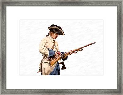 French Soldier Reloading Musket Framed Print