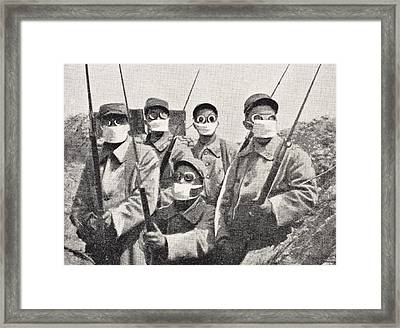 French Soldiers Wearing Gas Mask In Framed Print
