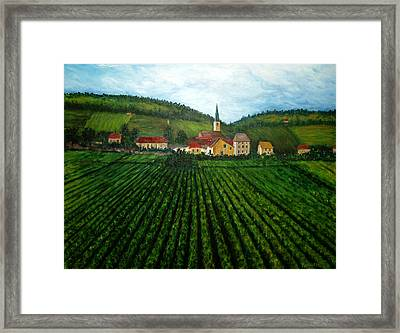 French Village In The Vineyards Framed Print by Nancy Mueller