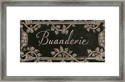 French Vintage Laundry Sign Framed Print by Mindy Sommers