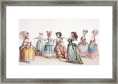 French Women S Fashions During The Framed Print by Vintage Design Pics