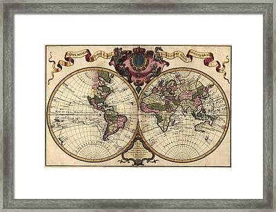French World Map Shows Nautical Framed Print