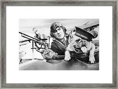 French World War Two Postcard Celebrating The British Bulldog As A Mascot For The Royal Air Force Framed Print by French School